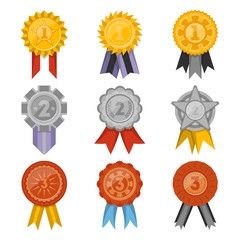 Medals collection with ribbons isolated set