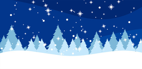 Winter background with fir-trees and snowflakes
