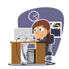 Indian businesswoman working late night– stock illustration