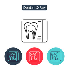 Dental x-ray vector line icon isolated on white background.
