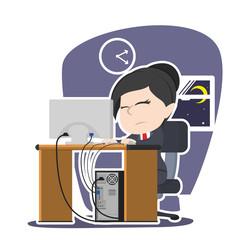 Sleepy asian businesswoman working– stock illustration