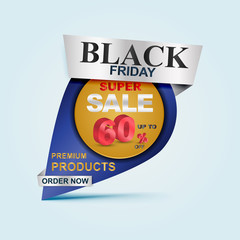 Black friday Sale poster, banner. Big sale, clearance up to 60% off. Sale banner template design.