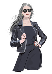 A girl with long hair and sunglasses