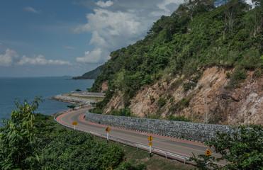 Beautiful curved road by the sea, Chalern Burapha Chonlathit Highway, Chanthaburi, Thailand.