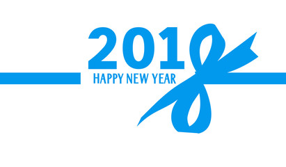 2018 Happy New Year. Title design for calendar or brochure.  Blue number 2018 with bow silhouette