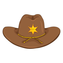 Vector Cartoon Sheriff Cowboy Hat on White Bcakground
