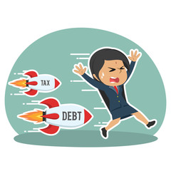 Indian businesswoman being chased by tax debt rocket– stock illustration