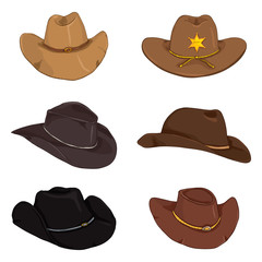 Vector Set of Cartoon Color Cowboy Hats