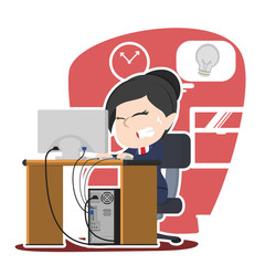 Asian businesswoman panic running out of idea– stock illustration