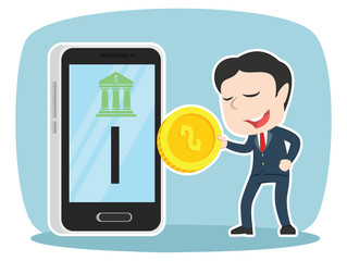 Asian businessman inserting coin to mobile banking– stock illustration