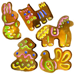 Religious holiday of Easter. People's faith. Congratulatory biscuits, gingerbread, cookies. Tasty, fragrant figures. Aromatic cooking. Watercolor. Illustration