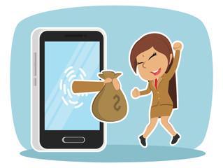 Indian businesswoman happy got money from smartphone– stock illustration