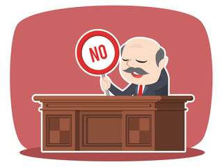 asian boss sitting on work desk holding no sign