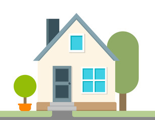 Modern and simple flat vector illustration. A icon a country house. Image for website, presentation, application, interface