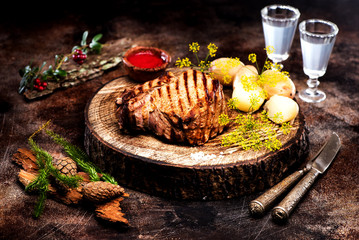 Wall Mural - Roast beef and boiled potatoes