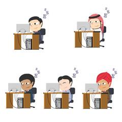 Sleepy businessman working different race set– stock illustration