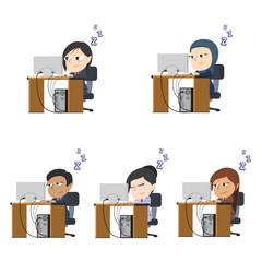 Sleepy businesswoman working different race set– stock illustration