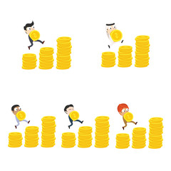 Businessman climbing coin stairs while holding coin different race set– stock illustration