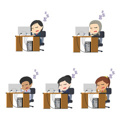 Businesswoman did fall asleep while working in a different race set– stock illustration