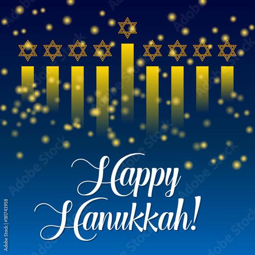 Happy hanukkah greeting card lights on dark hanukkah party poster happy hanukkah greeting card lights on dark hanukkah party poster template or social media m4hsunfo