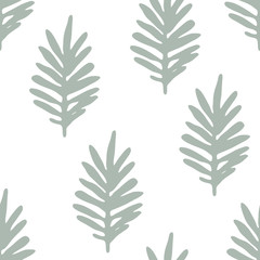 Cute floral background with green hand drawn leaves, branches on white. Tropic seamless pattern. Vector illustration.
