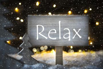 White Christmas Tree, Text Relax, Snowflakes