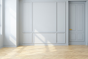 Modern vintage interior of living room,parquet flooring and white wall,empty room  ,3d rendering