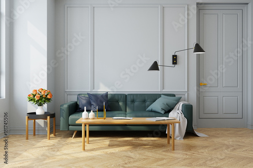 Modern vintage interior of living room green sofa with wall lamp on