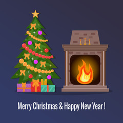 Home fireplace with fire with  presents on it and Christmas tree. Flat design.