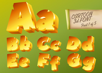 Vector 3D Gold Font in Cartoon Style. Comic Yellow Isometric Typeset for Children's Playground, Mobile Game App, Poster, Banner. Funny and Cute English Alphabet Illustration. Colorful Type.