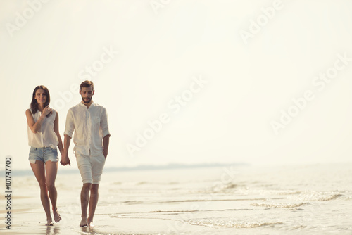 Happy Fun Beach Vacations Couple Walking Together Laughing Having On Travel Destination