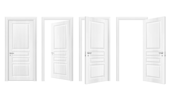 Wooden Doors Realistic Icon Set