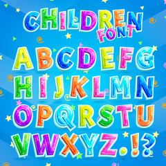 Children Font Illustration with Blue Background