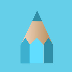 Tip of a blue pencil. Vector illustration