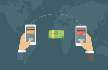 Online Money Transfer Around The World Illustration. People send money online to another with smartphone