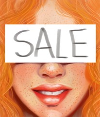 Girl with red hair and freckles with the inscription sale  in the style of oil painting