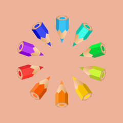 A group of colored pencils sorted as a rainbow. Vector illustration