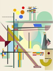 abstract composition , fancy  geometric colorful shapes on beige background