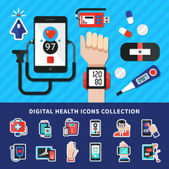 Digital Healthcare Flat Icons Collection