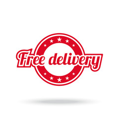 Free delivery label. Red color, isolated on white. Vector illustration.