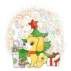 Golden dog drinks coffee or milk shake. Hand drawn illustration for New Year t-shirt, poster, postcard on patterned background