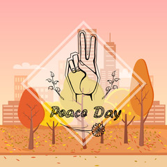 Peace Day Vector Illustration on Urban Background