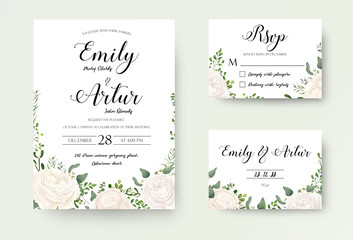 Wedding Invitation floral invite Rsvp cute card vector Designs set: white garden Ranunculus, Rose flower, fern, eucalyptus, mistletoe green leaf & berry romantic trendy greenery forest rustic bouquets