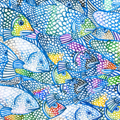 hand-drawn watercolor illustration of colored fish
