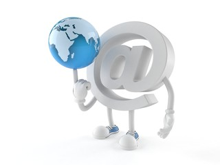 E-mail character with world globe