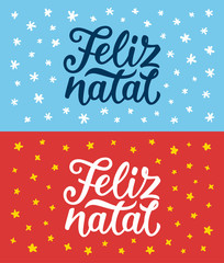 Feliz Natal portuguese Merry Christmas calligraphy text on retro style flat greeting cards set. Lettering for season greetings. Vector background