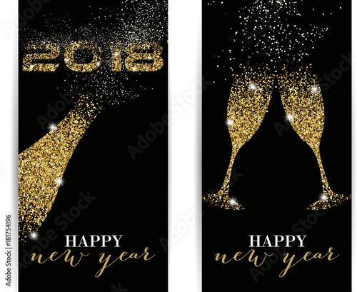 2018 happy new year gold glitter