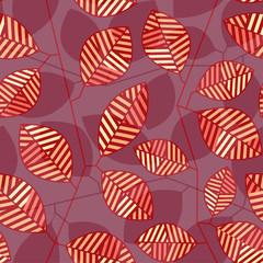 Бесшовный узор с полосатыми листьями и стеблями в красных тонах.