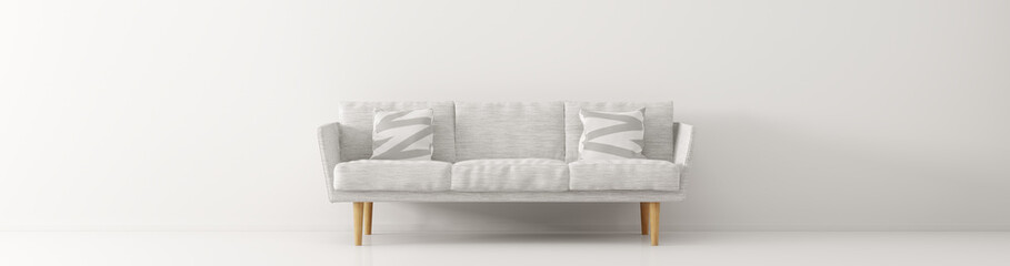 Modern interior with white sofa panorama 3d render