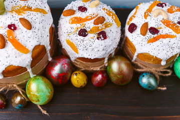 classic Slavic Easter cakes with Easter eggs on a wooden table